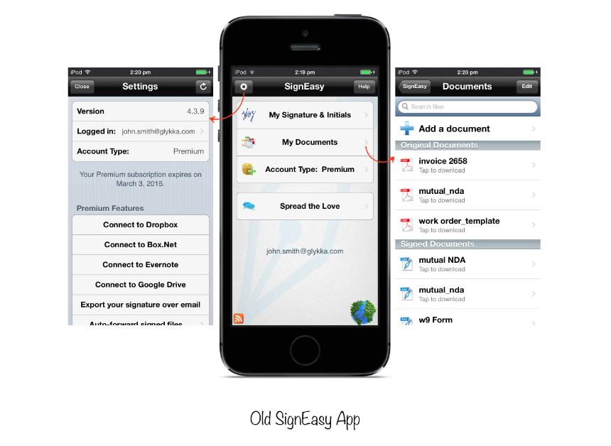 SignEasy prior to iOS 7 redesign