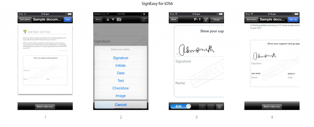 SignEasy userflow before iOS 7 for App Store
