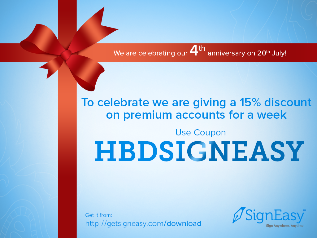 SignEasy offering 15% discount on premium accounts