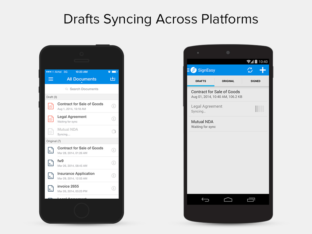 Continuity for iOS and Android devices draft sync