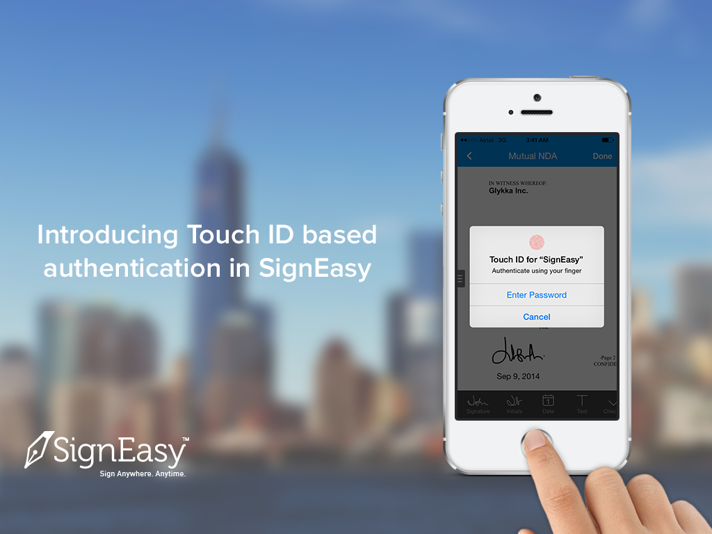 SignEasy Integrates Touch ID for biometric authentication