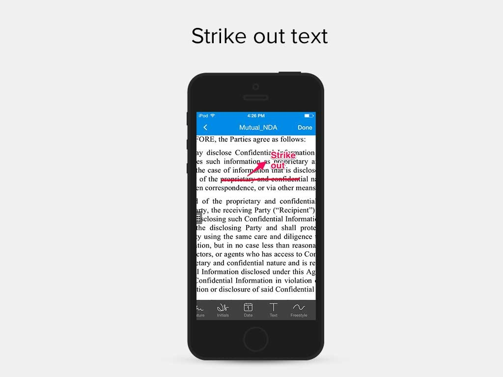 SignEasy App - Strike out text