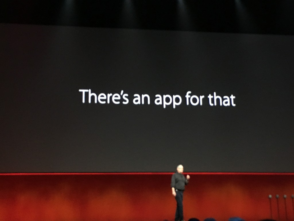 """There's an app for that"" and it's called Home for HomeKit. A scene from WWDC 2016"