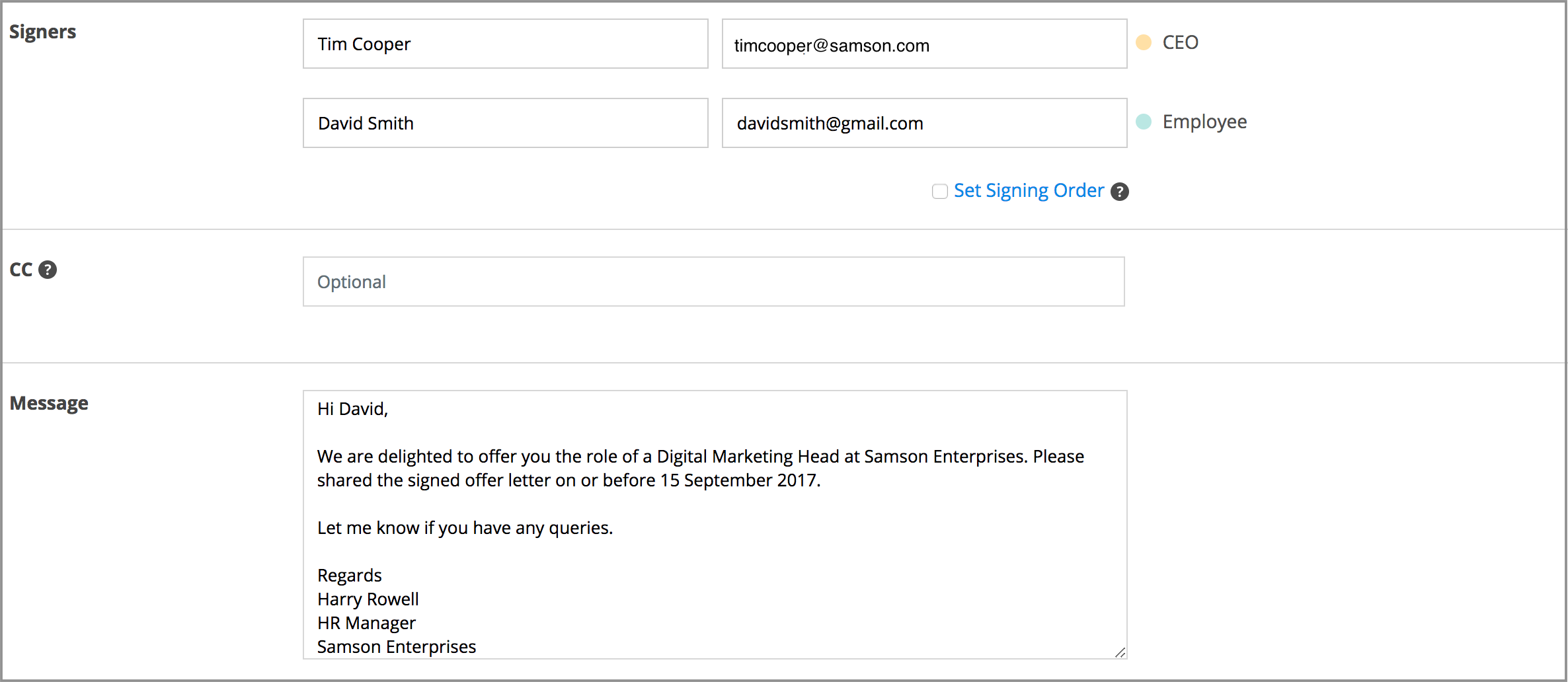 Add-signee-email-addresses-and-type-in-a-message-to-automate-HR-workflow